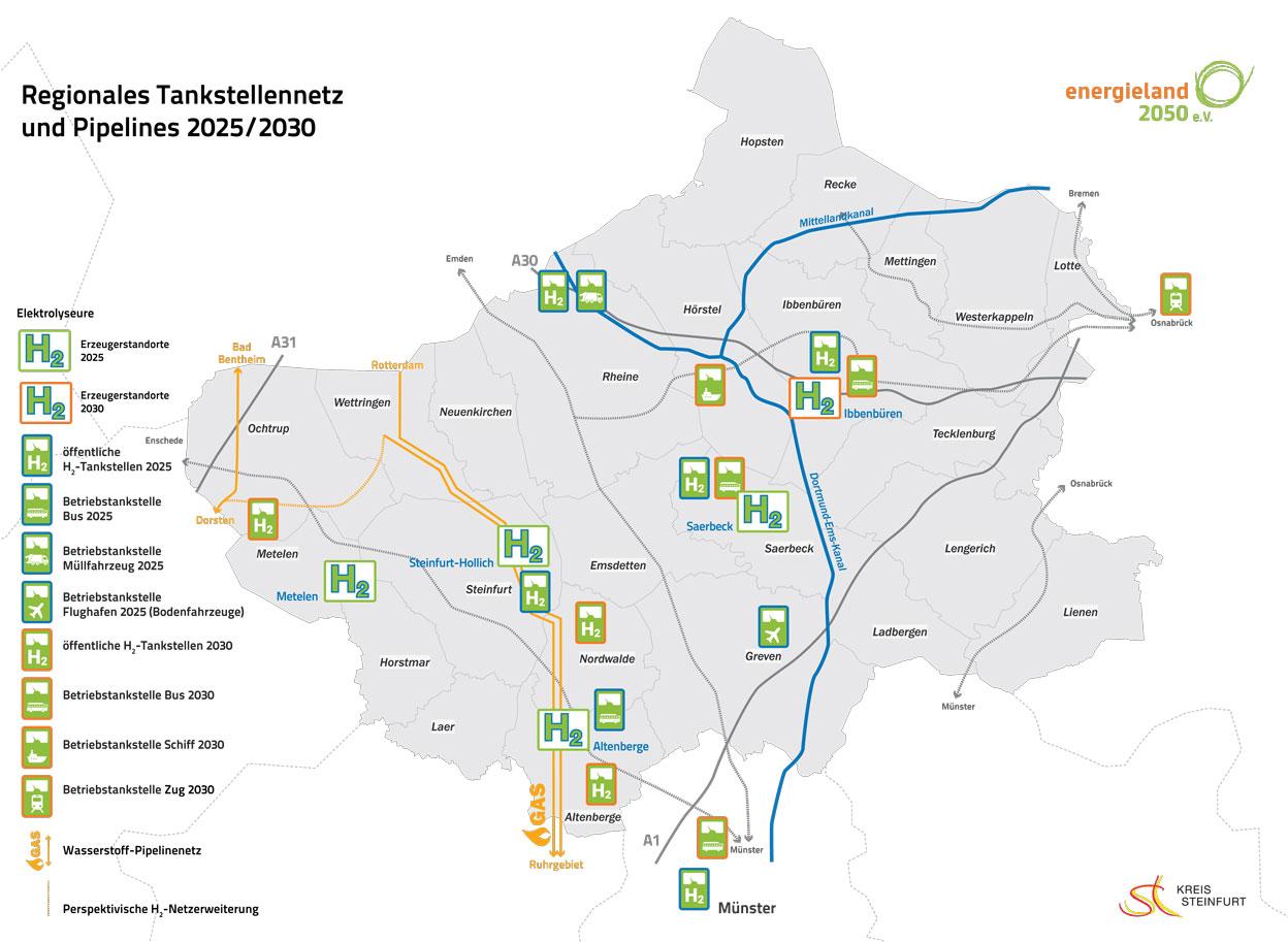 Abbildung: Regionales Tankstellennetz und Pipelines 2025/2030